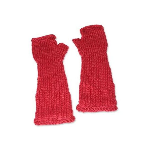 NOVICA Alpaca blend fingerless gloves ($45) ❤ liked on Polyvore featuring accessories, gloves, clothing & accessories, red, arm warmer gloves, novica, red gloves, fingerless arm warmers and fingerless gloves