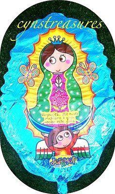 "GLOBO JUMBO 30"" VIRGENCITA PLIS MARIPOSA DISTROLLER BLUE OVAL VIRGEN MARY"