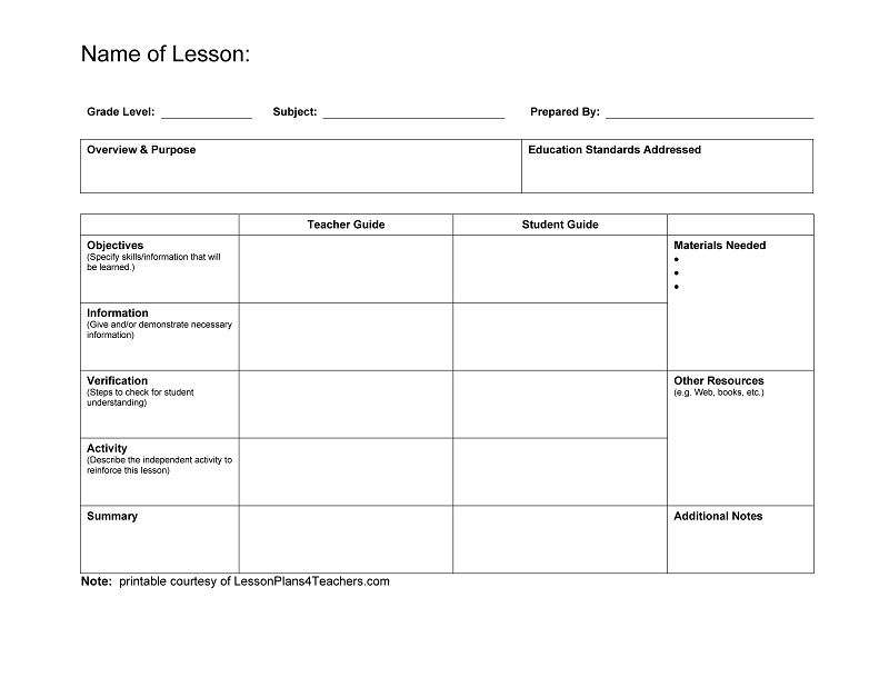 Blank lesson plan template plans format infinite nor roogen \u2013 smugainfo