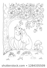 Vector illustration zentangl. Cats in love in a clearing