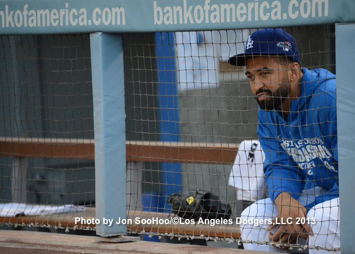 Matt Kemp watching the game from the dugout :0( NLCS
