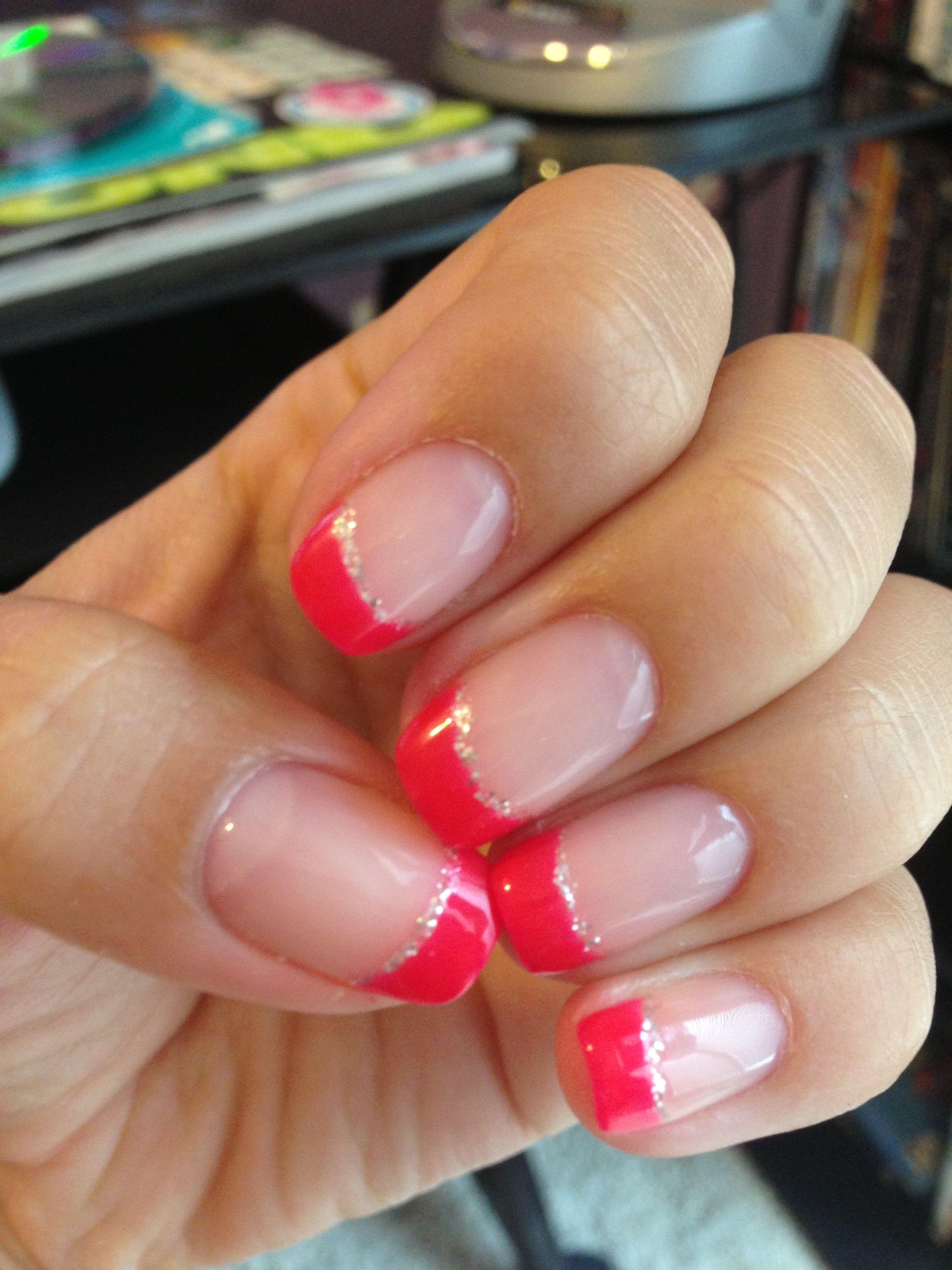 French Tips Hot Pink Shellac Nails Gel Nails French French Tip