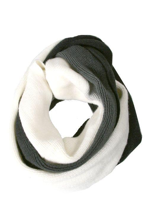 Winter Scarf - Two Tone Loop Scarf (Grey)