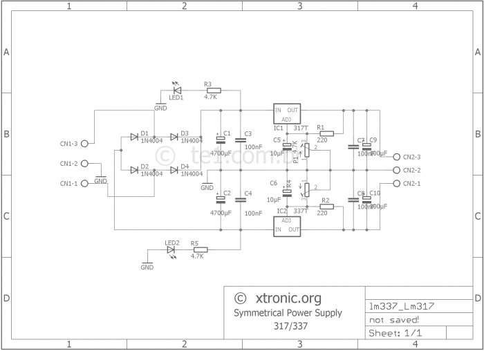 Adjustable Symmetrical Power Supply With Lm317 And Lm337 Xtronic Org Power Supply Circuit Power Supply Circuit