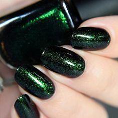 Salem - Rich Black Green Shimmer Nail Polish by ILNP