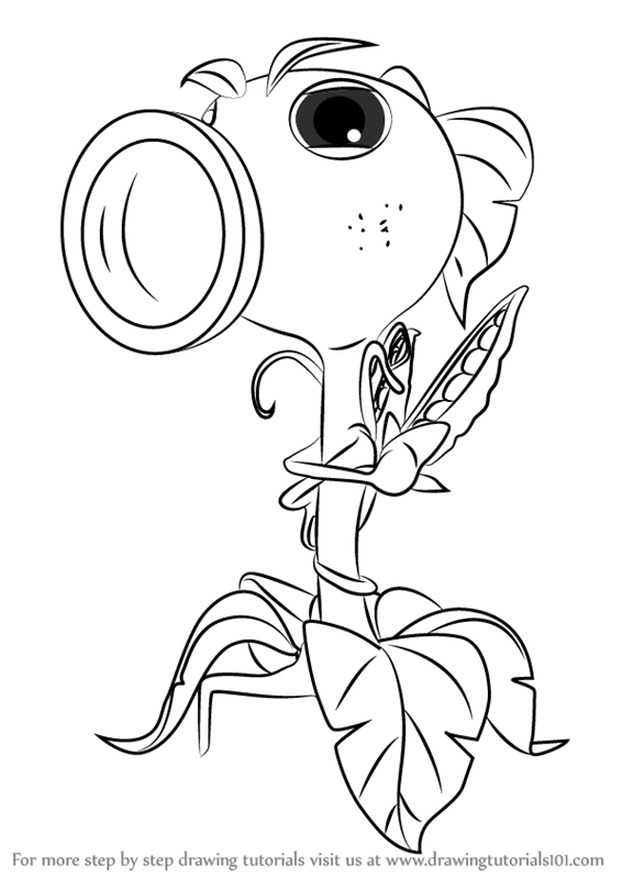 Learn How To Draw Peashooter From Plants Vs Zombies Garden