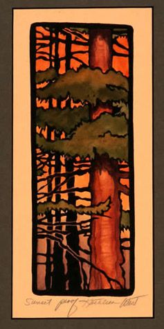 Sunset By Kathleen West Block Print Roycroft Artisan Arts