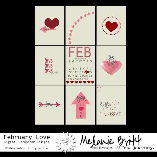 Darling #February Printable 3x4 Cards. #Free download. #digitalscrapbooking #digitalprojectlife #projectlife #valentinesday #freebie #printable #project365 #project52