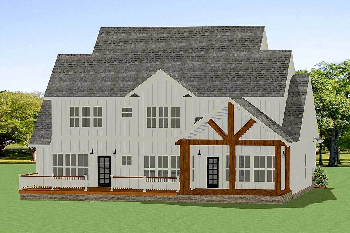 Plan 46352LA: Charming Split-Bedroom Farmhouse with Office ... on Farmhouse Outdoor Living Space id=99890