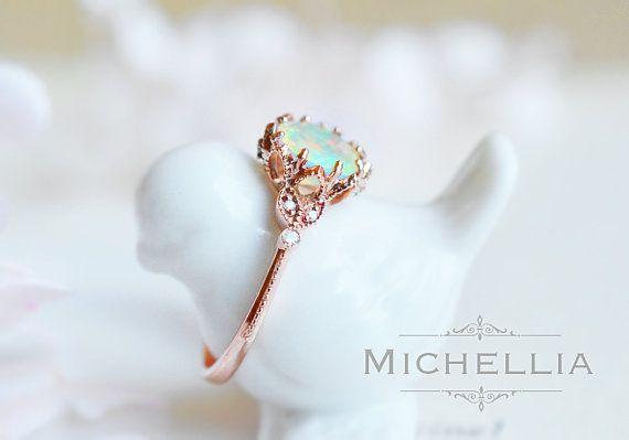 Evanthe Opal Engagement Ring Vintage Floral Opal Ring Opal