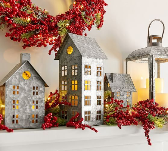 Galvanized Village Houses Christmas Home Decor Country House Decor