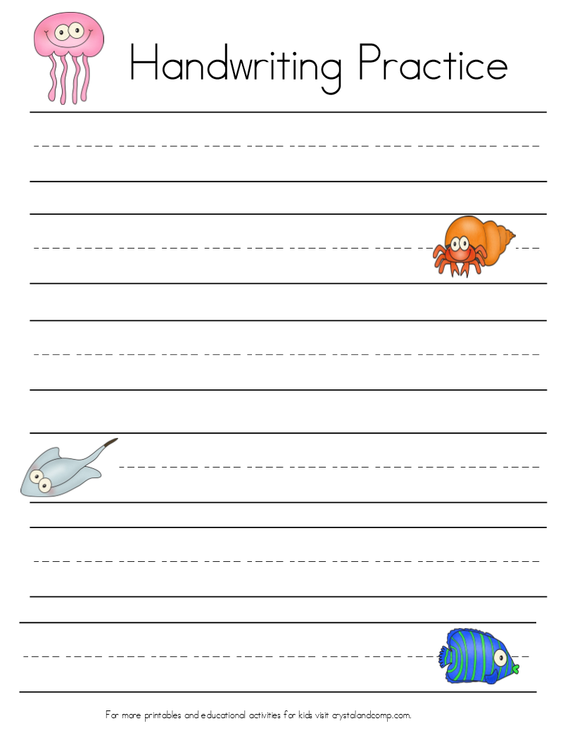 Under the Sea Themed Handwriting Sheets (Perfect for Story Writing ...