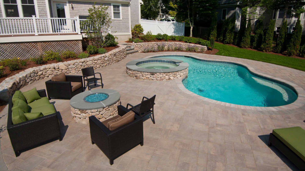 Pool With Fire Pit Area Google Search Pool Renovation Fire Pit Area Fire Pit