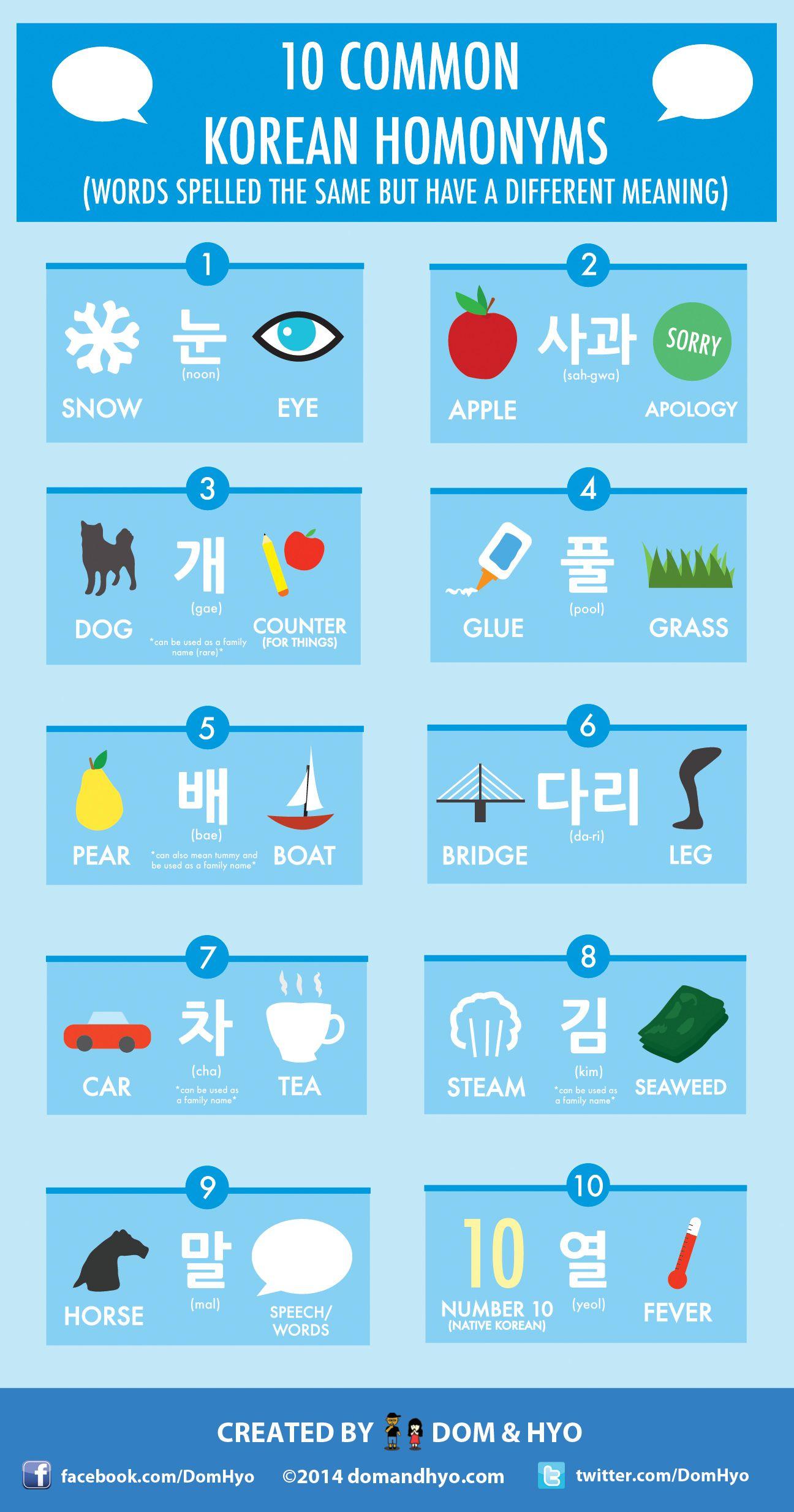 10 Common Korean Homonyms (동음 이의어)