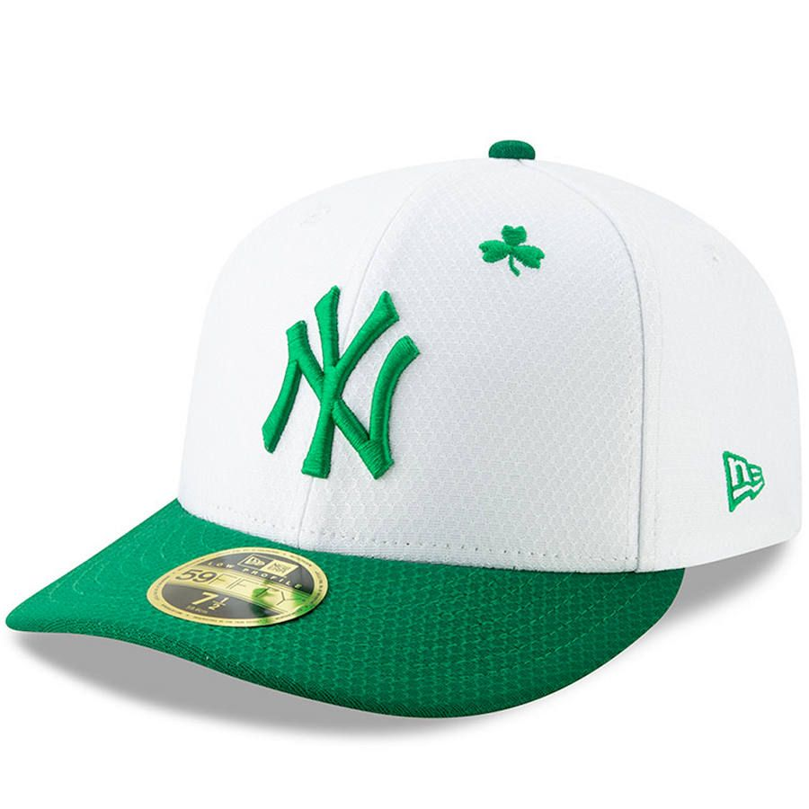 7d230c2b44a7f Men s New York Yankees New Era White Kelly Green 2019 St. Patrick s Day On- Field Low Profile 59FIFTY Fitted Hat