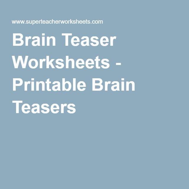 Brain Teaser Worksheets - Printable Brain Teasers   Hink Pinks ...
