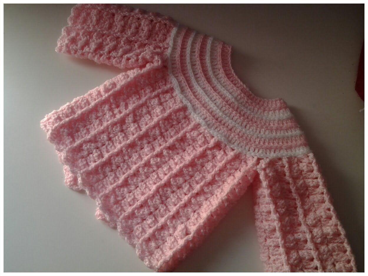 Jersey de bebe (chambrita) #tutorial 2 DIY | Palillo niñas ...