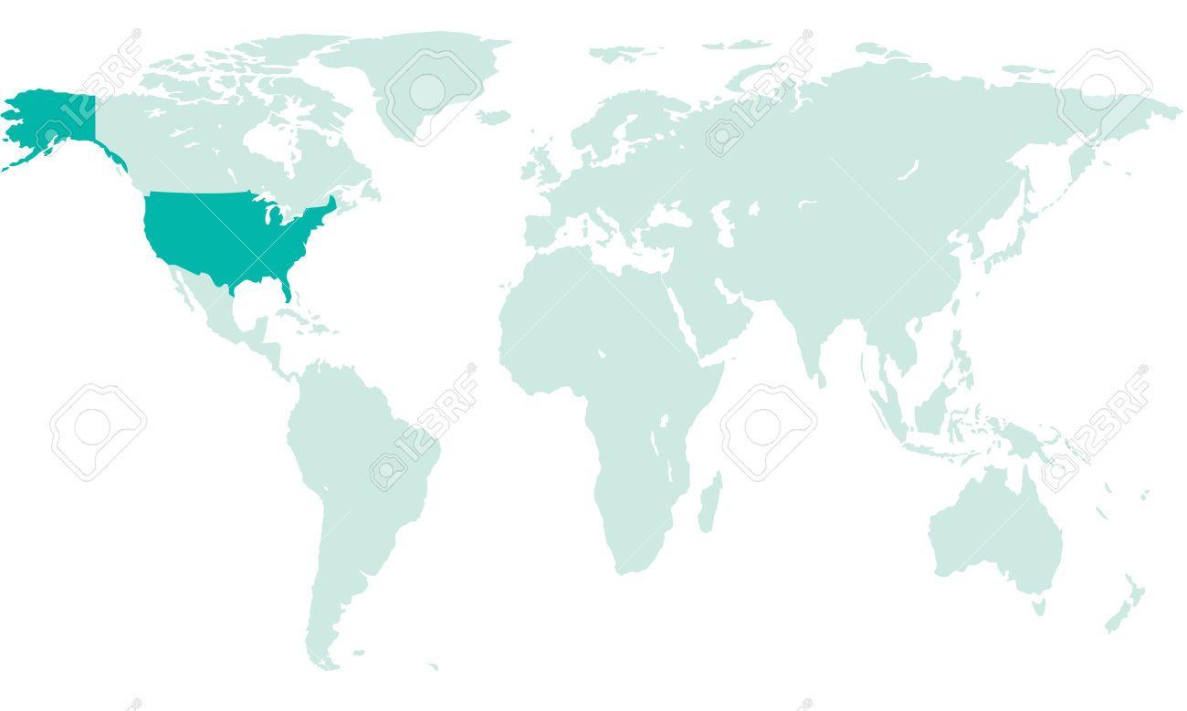 Silhouet kaart van de VS op de wereldkaart. Alle objecten zijn ...