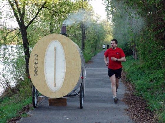 Een sauna achterop een fiets