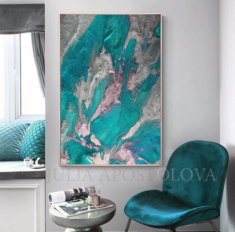 Earth Abstract Teal Wall Art Painting Marble Wall Art Decor Etsy In 2020 Teal Wall Art Wall Art Painting Minimalist Painting
