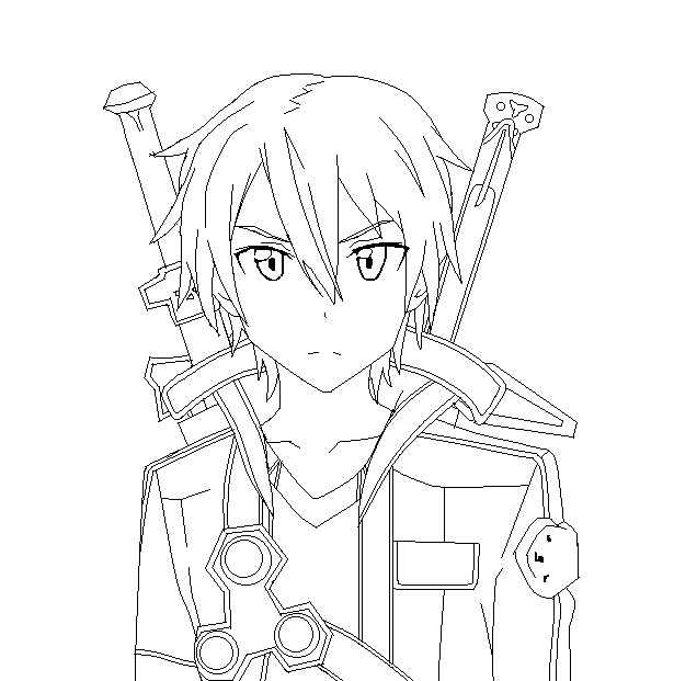 sao coloring pages Sword Art Online Kirito Line Art by SonBui | Coloring Pages  sao coloring pages