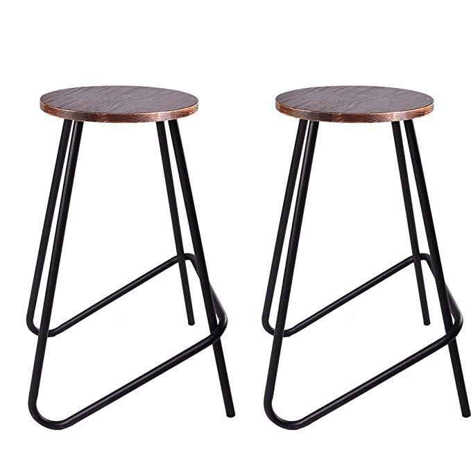 Amazon Com Bokkolik Set Of 2 Vintage Bar Stools Retro Wood Seat