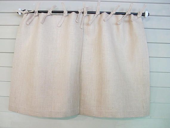 Natural Burlap Tie Top Cafe Curtains And Drapes 48 Inch Wide Pair