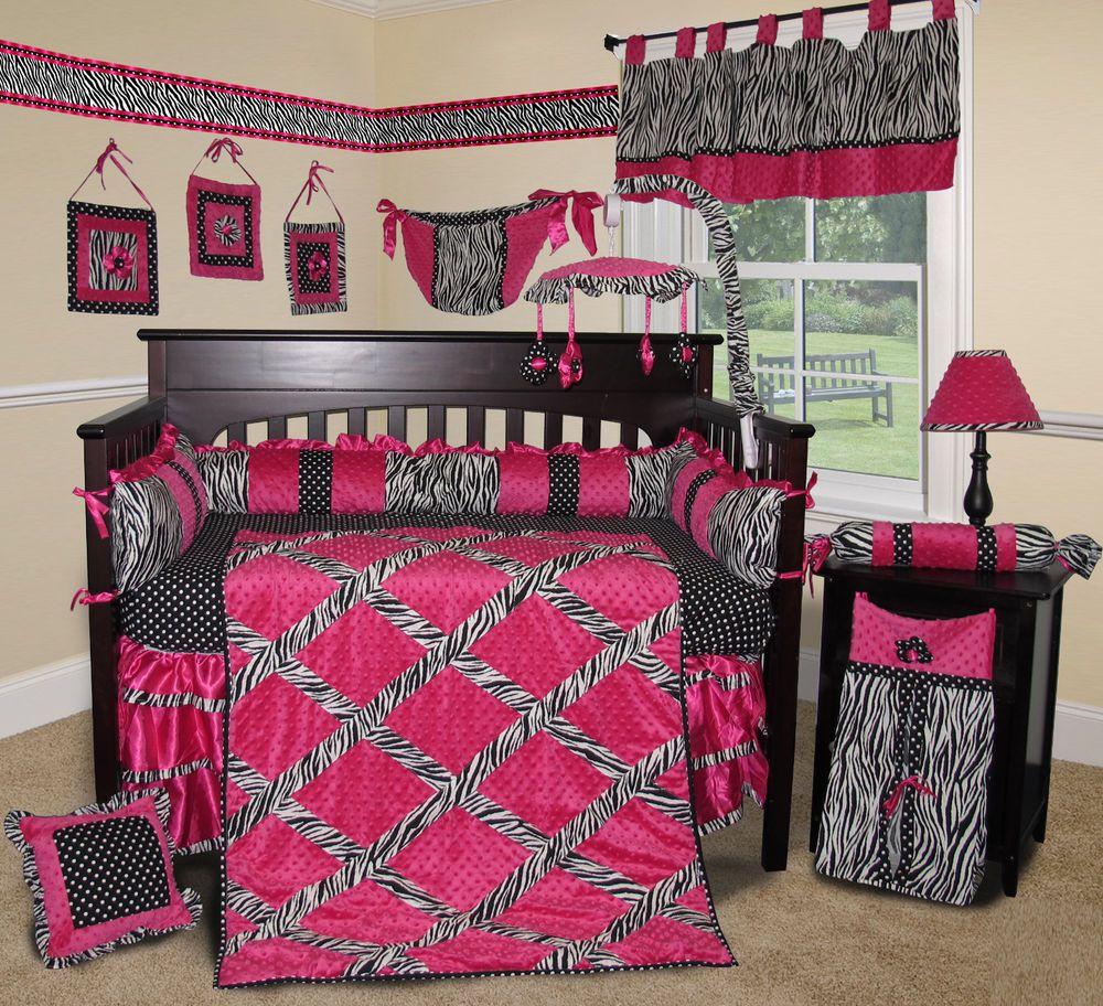 Baby Boutique Hot Pink Zebra 15 pcs Nursery Crib Bedding Set