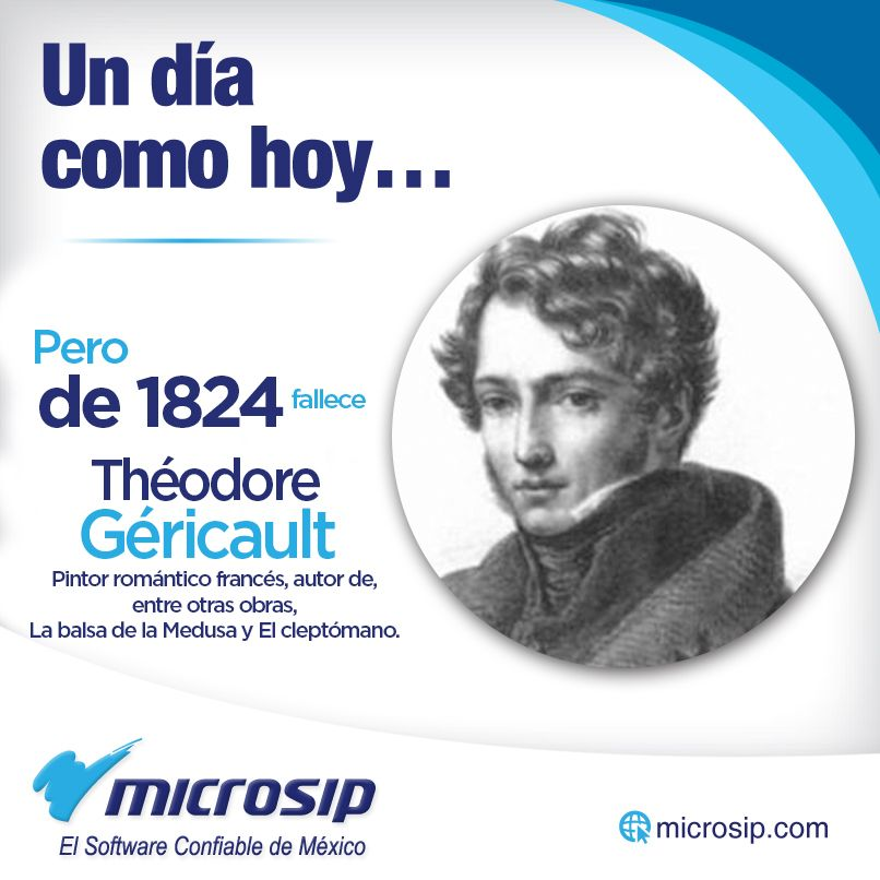 Un día como hoy, 26 de enero, pero de 1824 muere Théodore Géricault, pintor romántico francés, autor de, entre otras obras, La balsa de la Medusa y El cleptómano.