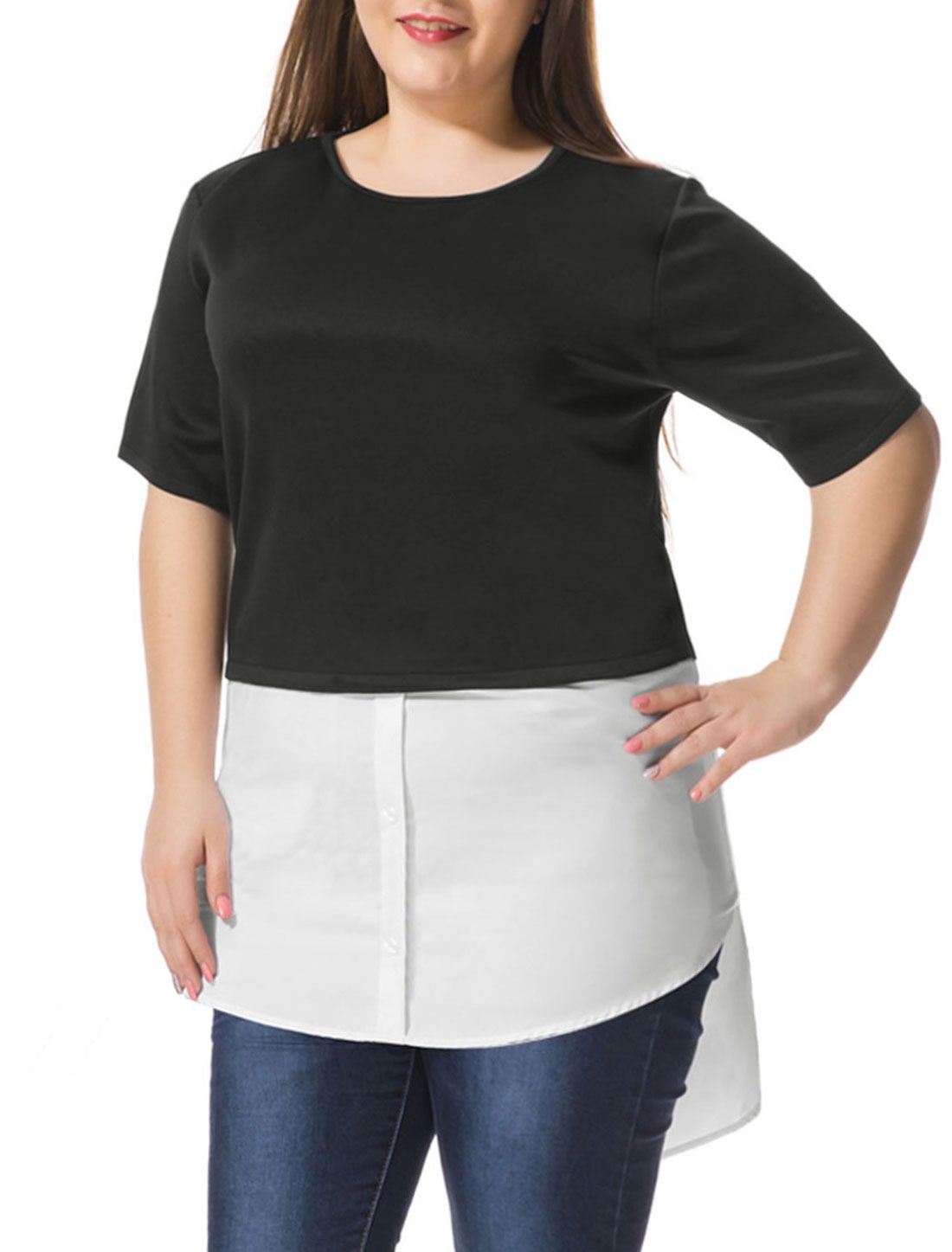 ALLEGRA K Women Plus Size Contrast-Paneled Shirttail Tunic Top