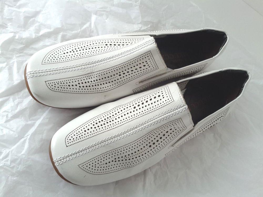 SESTO MEUCCI Size 8 W. White Leather & Stretch Fabric Panel Italian Shoes MINT ! #SestoMeucci #LoafersMoccasins