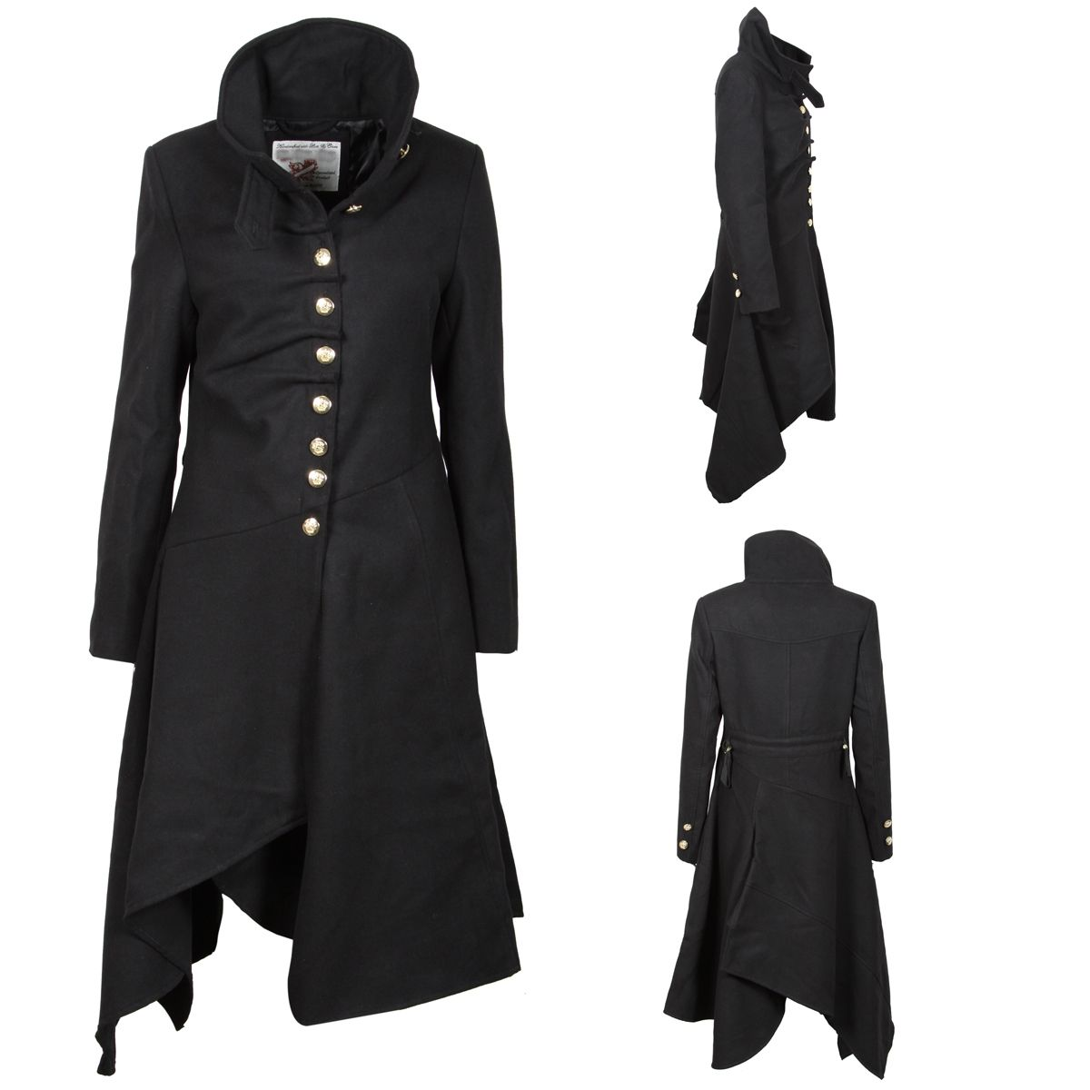 612f665a8 Details about NEW WOMENS BLACK STRUCTURED MILITARY GOTH GOTHIC COAT ...