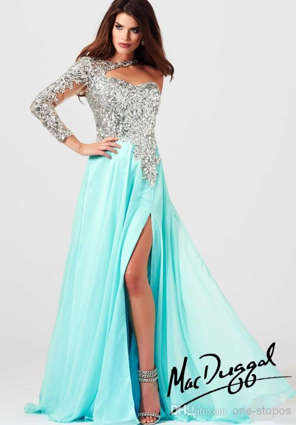 139c3a109b7 Cheap Prom Dresses - Discount One Shoulder Long Sleeve Prom Dresses Sheer  Sequin Online with  115.92 Piece