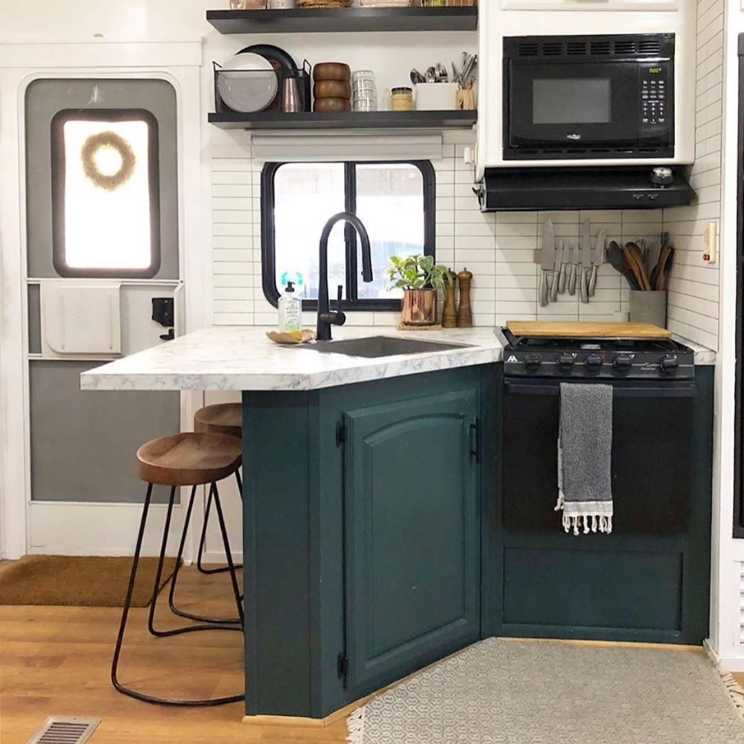 Inspiredrvliving Check Out This Beautiful Camper For Sale In Tampa Fl Go Check Out Thehauswanderlustbuil In 2020 Small Kitchen Nadeau Furniture Gorgeous Kitchens