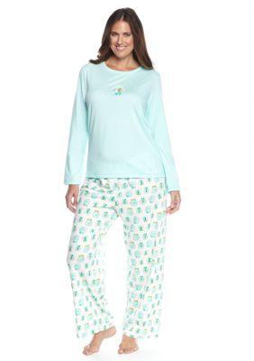 adc9b20dc97a9 HUE Plus Size Folded 2-Piece Knit Snow Globe Pajama