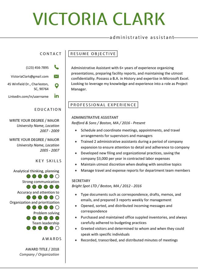 Minimalist Green Resume Rg Job Resume Examples Resume Examples Job Resume