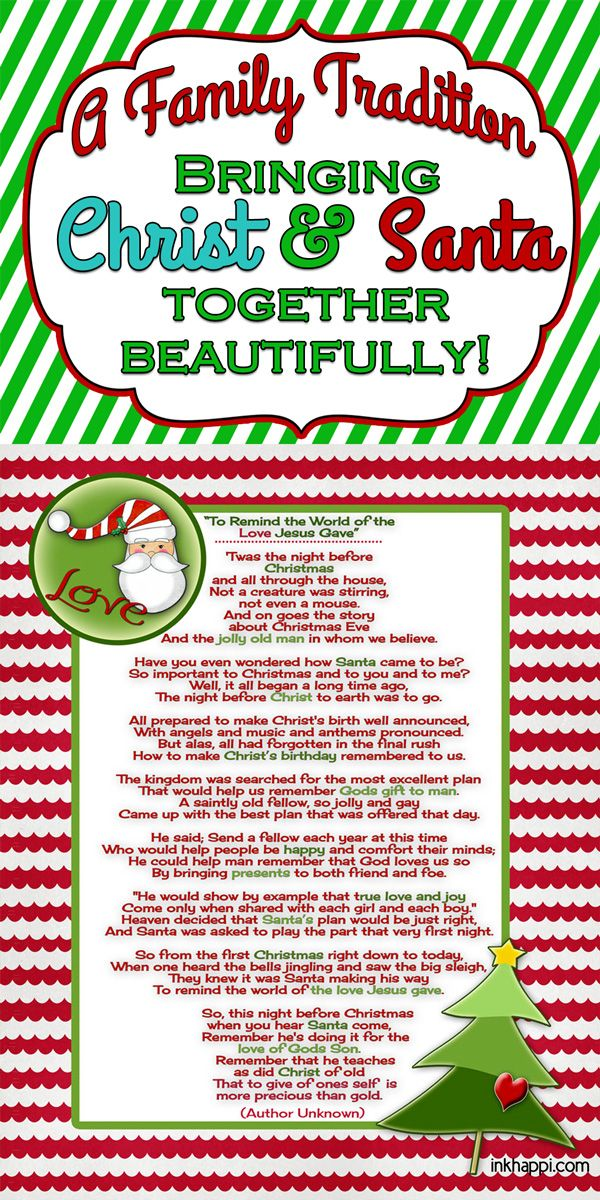Santa and Christ …Poem and a Christmas Tradition   Christ, To bring ...