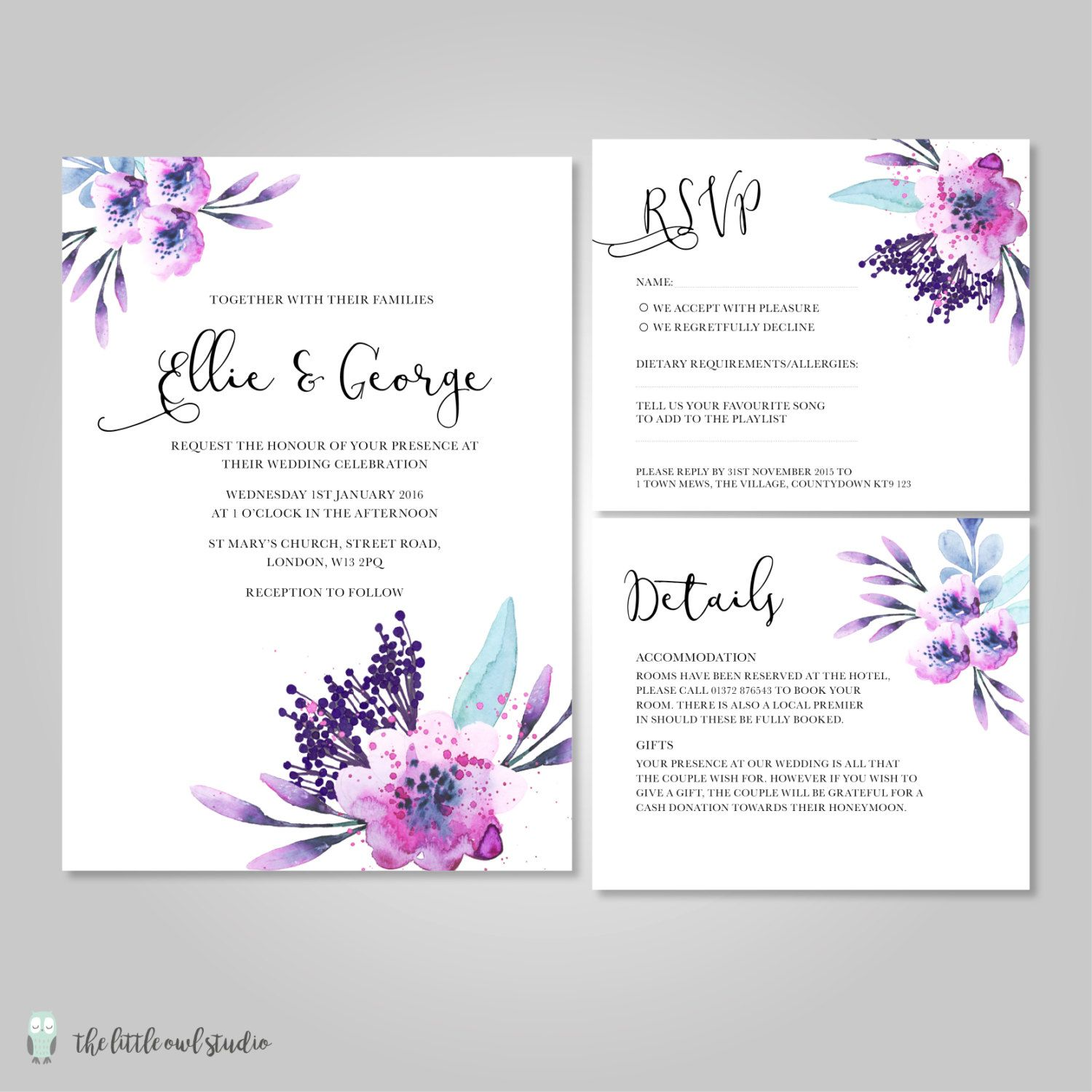 Wedding Invitation Stationery With Watercolour Purple Lilac