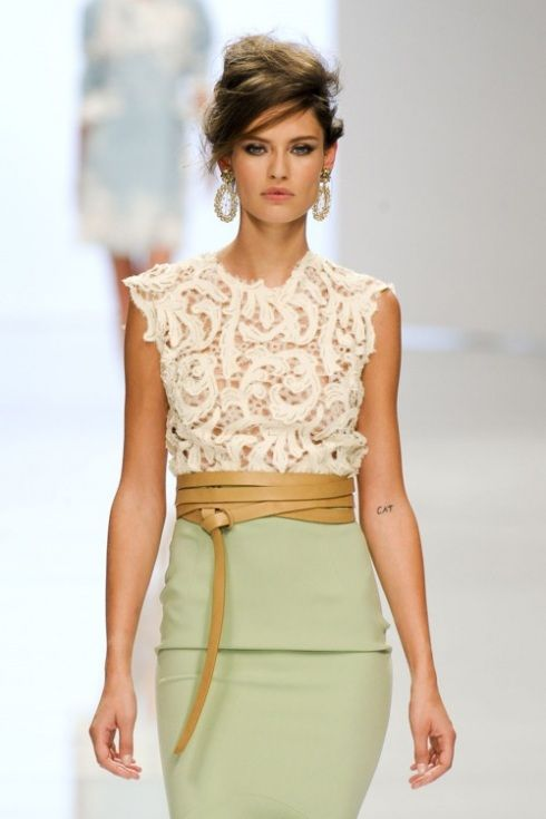 lace top pistacio pencil skirt with OBI like leather belt. FAB for summer