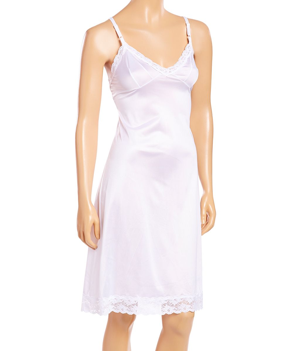 White Long Lace-Trim Full Slip - Plus Too