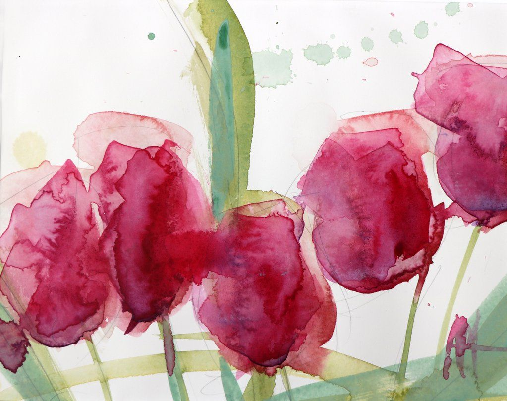 Pink Tulips Original Watercolor Painting By Angela Moulton