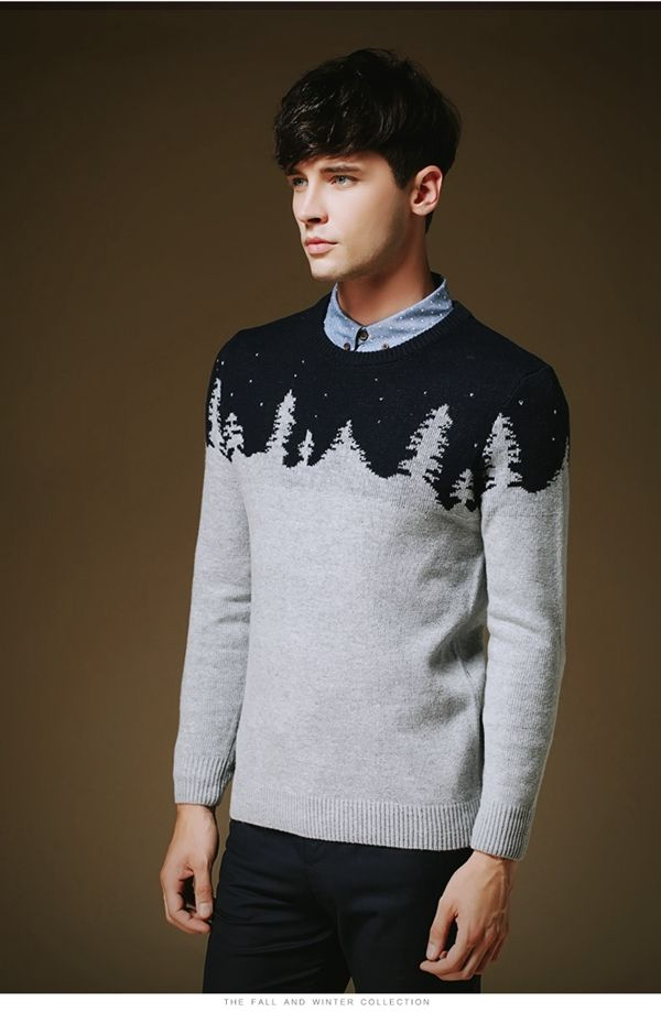 Men Classic Christmas Tree Snow Woolen Sweater Winter