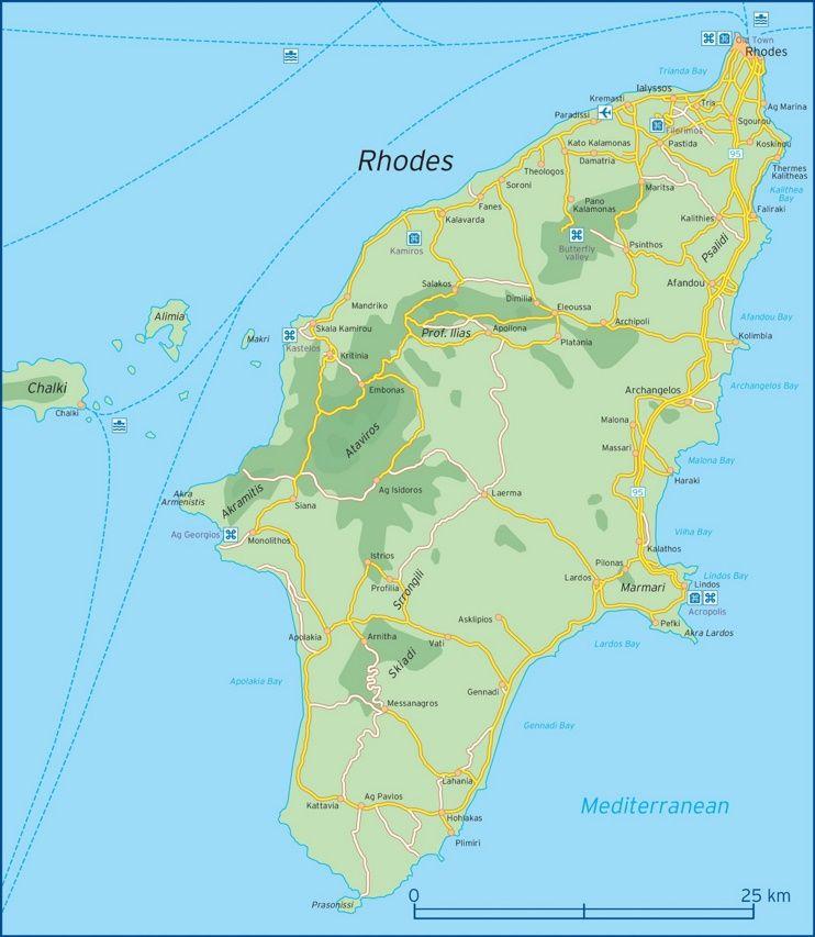 Rhodes road map Maps Pinterest Rhodes and Greece islands