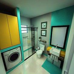 Banheiro com lavanderia, solução para espaços pequenos