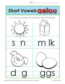 Short Vowels Worksheets | Short vowels, Worksheets and ...