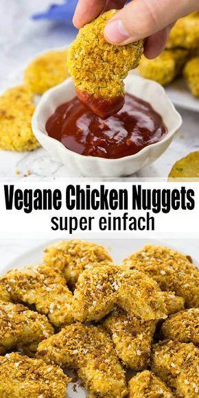 Vegan chicken nuggets -  You can also make vegan chicken nuggets yourself. With chickpeas! Also a great recipe for kids! Mor - #chicken #GlutenFree #nuggets #Protein #vegan #VeganRecipes