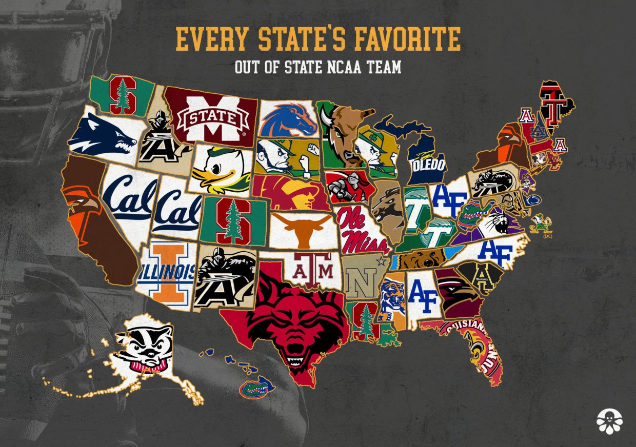 America S Favorite Out Of State Football Teams Mapped Ncaa