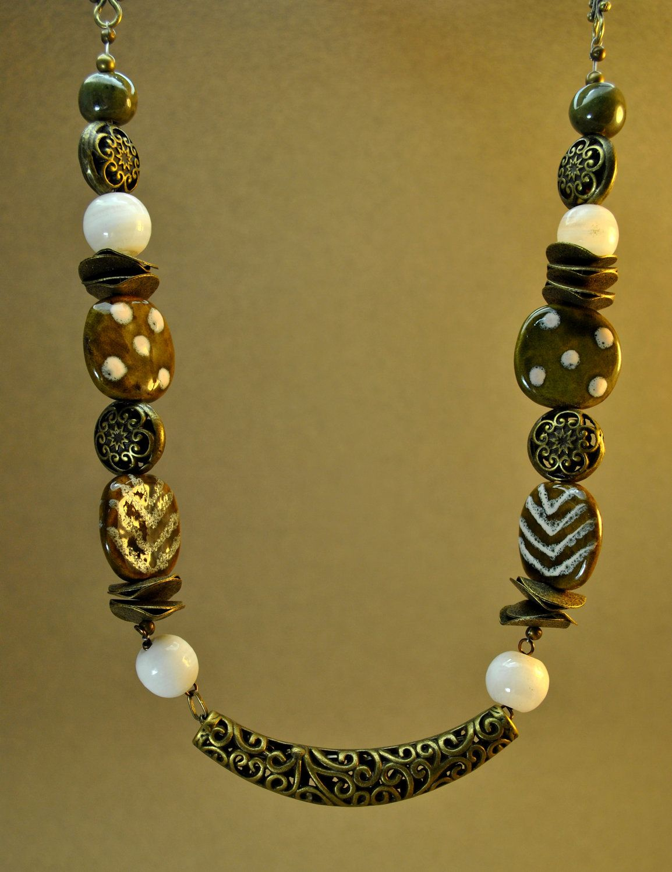 Sage Green African Kazuri Ceramic Necklace Set with brass beads. $74.00, via Etsy.