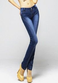 Dark Blue Button Fly Skinny Denim Pants http://www.coupon4free.com/stores/cichic-fashion/