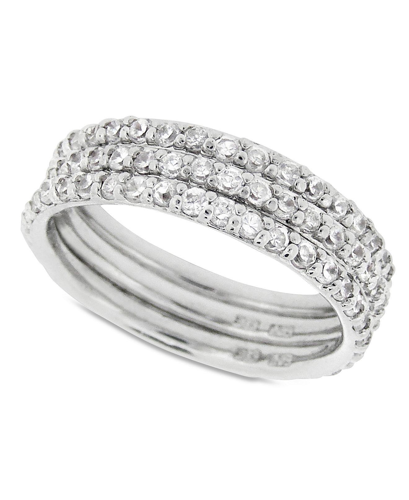 41c6c6ec29c8b B. Brilliant Sterling Silver Ring Set, Cubic Zirconia Stackable Ring ...